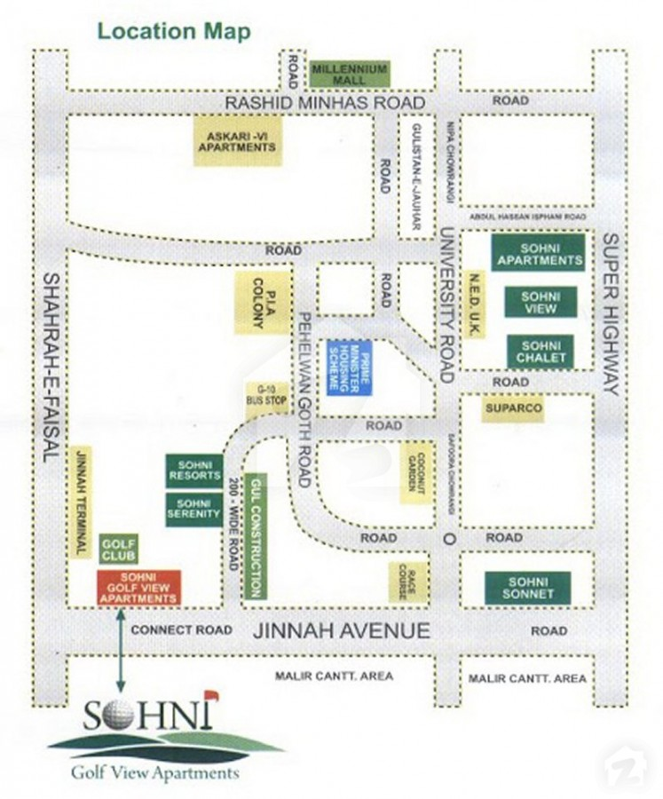 Golfview Apartments: Map And Location Of Sohni Golf View Apartments Gulshan-e