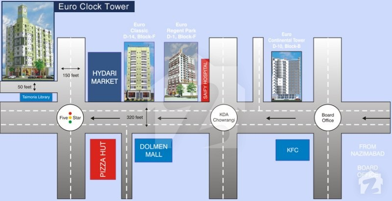map and location of euro clock tower north nazimabad block l karachi. Black Bedroom Furniture Sets. Home Design Ideas