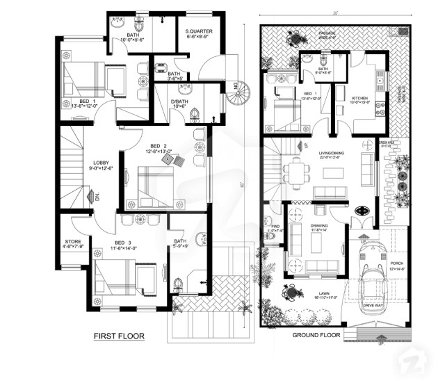 Floorplans of royal residencia lahore for Architecture house map design