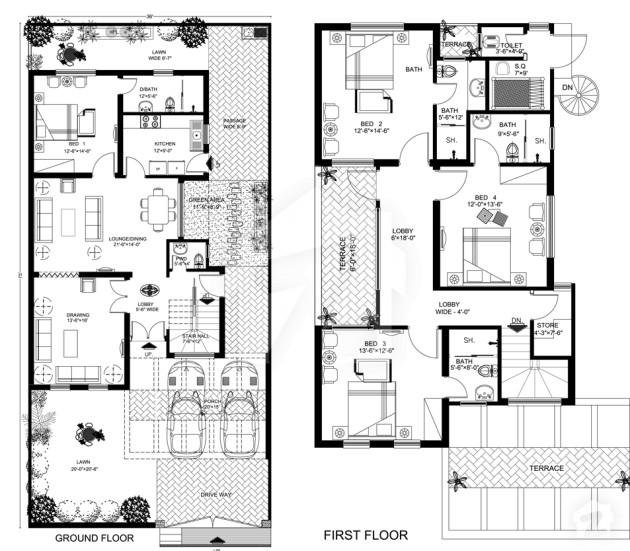 Italian 8 marlas floor plans