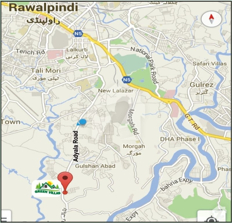 Map and Location of Green Villas Adiala Road Rawalpindi Zameencom