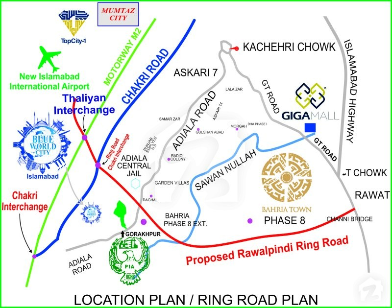 Map And Location Of Blue World City Chakri Road Rawalpindi Zameencom - Green and blue world map