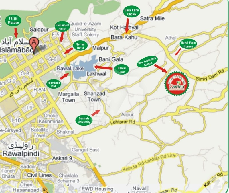 Map And Location Of New Islamabad Garden Housing Scheme Simly Dam - Saidpur map