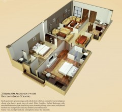 Two Bedrooms Apartments Non Corner
