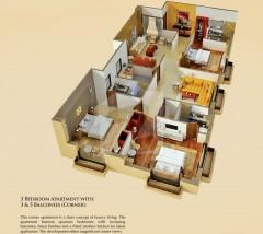 Three bedrooms Apartments Corner