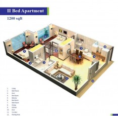 Block 1 - Two Bedrooms Apartment 1200 sq.ft