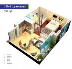 Block 2 - One Bedroom Apartment 700 sq
