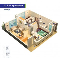 Block 2 - Two Bedrooms Apartment 950 sq