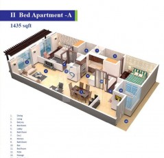 Block 3 and 4 - 2 Bedrooms Apartment Type A 1435 sq
