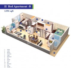 Block 3 and 4 - 2 Bedrooms Apartment Type B - 1350 sq