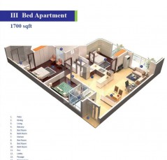 Block 3 and 4 - 3 Bedrooms Apartments 1700 sq.ft