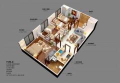Type D - Three Bedrooms Apartment